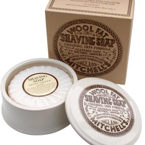 Mitchells Wool Fat Shaving Soap And Ceramic Bowl