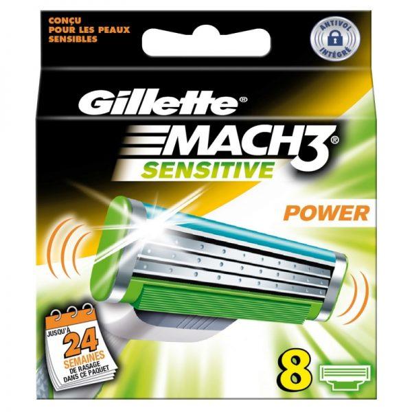 Gillette MACH3 Power Sensitive Razor Blades - Pack of 8 Refills