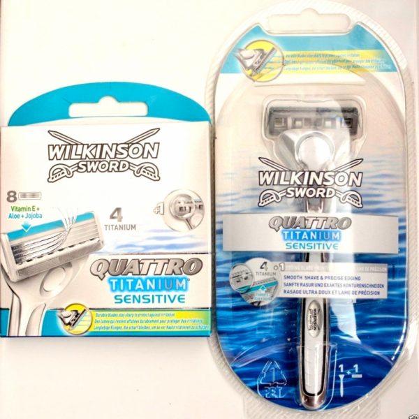 Wilkinson Sword Quattro Titanium Razor + 9 Blades